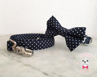 Blue Polka Dot Bow Tie Collar Set with Leash for Dogs/Bow Tie Dog Collar/Wedding Gift/Easter/Festive/Birthday/Cute Dog Collar