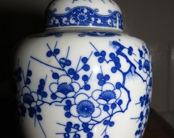 Vintage Blue Flowered Urn with Cover