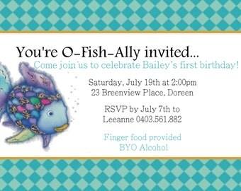 Rainbow fish printable invitation