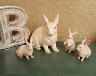 Lefton rabbits lot of four bunnies shabby chic
