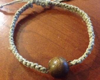 Adjustable Hemp Bracelet with Large Wooden Bead