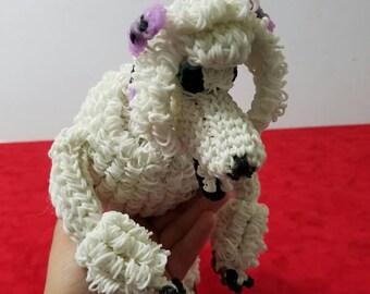 Rainbow loom white poodle