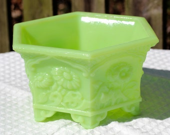 Fenton Lime Sherbet Satin Glass Floral Embossed Planter or Candy Dish