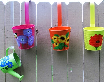 Hand-Painted Hanging Flower Pots and Water Can Garden Set, set of 4