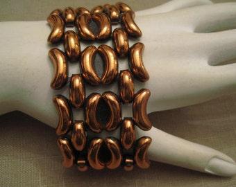 Vtg Signed Renoir Copper Connected Curved Design Wide Cuff Bracelet