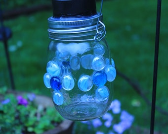 Clear mason jar solar lantern for patio, garden, deck or inside