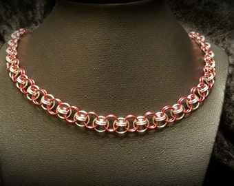 Celtic Line Chainmaille Necklace - Red/Gold/Silver