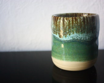 Unique multi-colored ceramic cup - beautiful handmade clay pottery