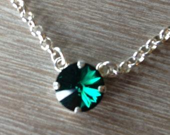 Single 12MM Swarovski Necklace in Emerald