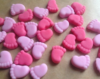 30 Edible Baby feet cupcake toppers decorations - Baby girl pink mix ~ new baby ~ baby shower ~ cake toppers
