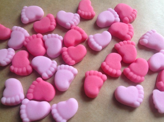 30 edible baby feet cupcake toppers decorations baby girl for Baby feet decoration