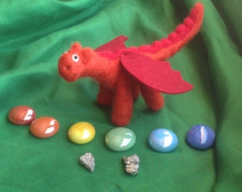 Needle felted dragon with treasure