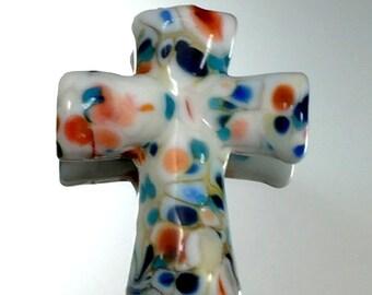 Cross-Lampwork Focal-Cross of many Colors