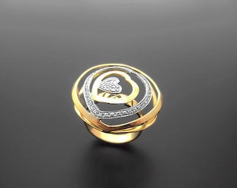VA006,Diamond Ring, 14k Yellow Gold, 14k White Gold