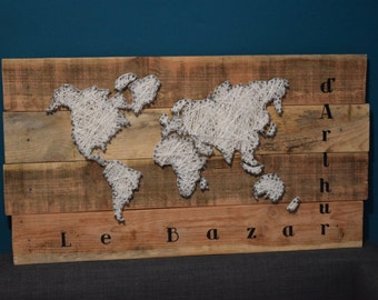 World map - String Art - 80 x 40 cm