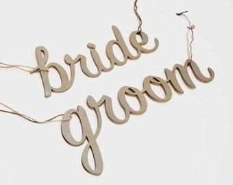 Bride & Groom Wedding Chair Sign