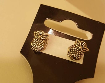 Stud Earrings-Owls-Silver Plated