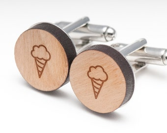 Ice Cream Cone Wood Cufflinks Gift For Him, Wedding Gifts, Groomsman Gifts, and Personalized