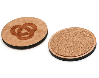 Trefoil Knot Wooden Coasters Set of 4, Gifts For Him, Wedding Gifts, Groomsman Gifts, and Personalized