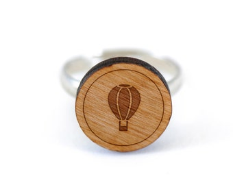 Hot Air Balloon Ring, Wooden Ring, Gift For Him or Her, Wedding Gifts, Groomsman Gifts, and Personalized