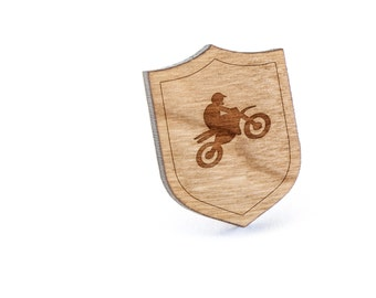 Dirtbike Lapel Pin, Wooden Pin, Wooden Lapel, Gift For Him or Her, Wedding Gifts, Groomsman Gifts, and Personalized