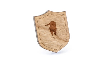 Kingfisher Lapel Pin, Wooden Pin, Wooden Lapel, Gift For Him or Her, Wedding Gifts, Groomsman Gifts, and Personalized