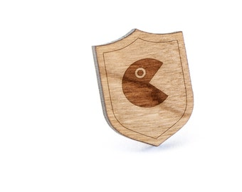 Ms Pac Man Lapel Pin, Wooden Pin, Wooden Lapel, Gift For Him or Her, Wedding Gifts, Groomsman Gifts, and Personalized