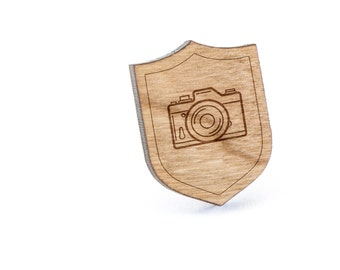 Slr Camera Lapel Pin, Wooden Pin, Wooden Lapel, Gift For Him or Her, Wedding Gifts, Groomsman Gifts, and Personalized