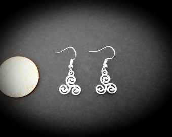Wiccan Pagan Triskele Triskelion Triple Spiral Inspired Drop Earrings. Silver plated Hooks.