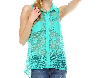 Fashionazzle Women's Sleeveless Lace Tunic Shirt with pocket Top
