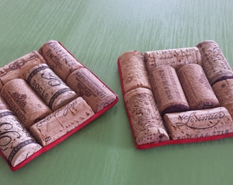 Handmade Up-cycled Wine Cork Coasters - Set of 2