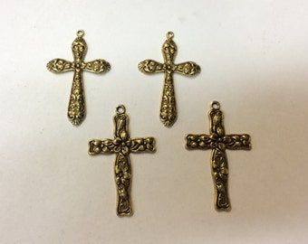 Brass Stampings - Brass Cross Charms - Set of 4