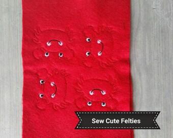 Crab Felties - Sheet of 4 Crab Felties - Crabs - Beach Felties - Beach - Felties -Embroidered Felt Appliques - Hair Bow Centers