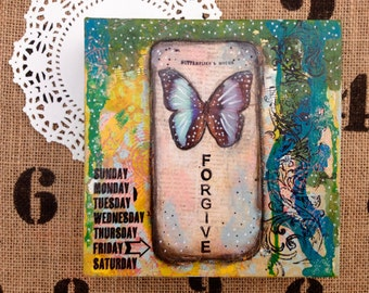 Forgive is a original piece of art. It is made on a deep sided 6x6 canvas
