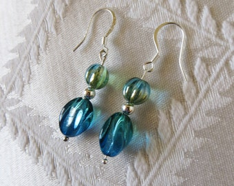 Silver-filled Drop Earrings with Turquoise Charms, SE-170