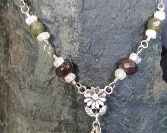 Labradorite/Garnet/Moonstone Necklace