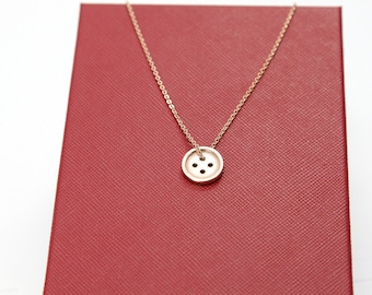 Rose Gold Necklace, Lucky Button Necklace, Minimalist Necklace, Cottage Chic Gift