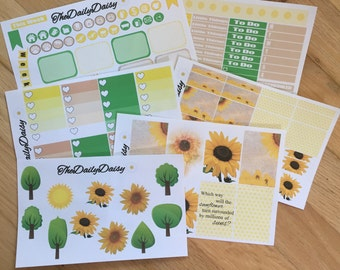 SUMMER SUNFLOWER PLANNER Stickers for The Happy Planner