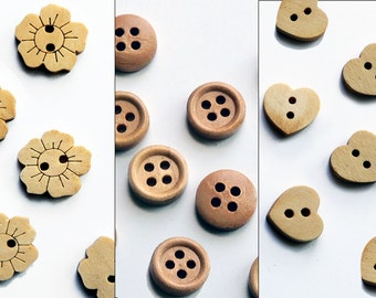 Wood buttons, flower, round or heart shape, sewing or scrapbooking