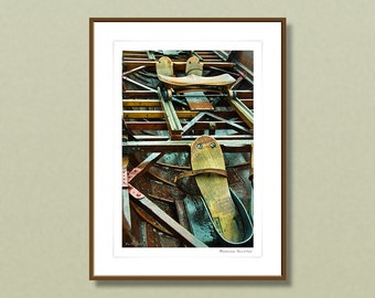 Fine art photography, 24x32 cm framed art prints, vintage rowing boat, rustic home decoration, wall art, home improvement