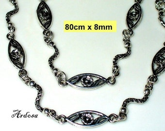 1 handmade necklace, Tibetan silver, without closing 80 cm (K203. 8)