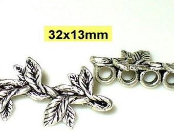 2 connector 7 hole Tibet silver 32x13mm with leaves (K131. 33)