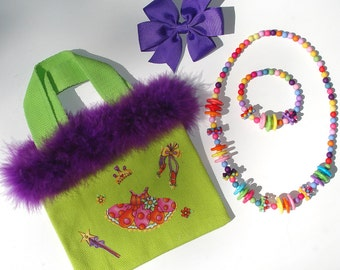 Girls Green Canvas Tote Bag Princess Dance Tutu Appliques Grosgrain Bow Beaded Acrylic Necklace Bracelet Feather Boa Trim
