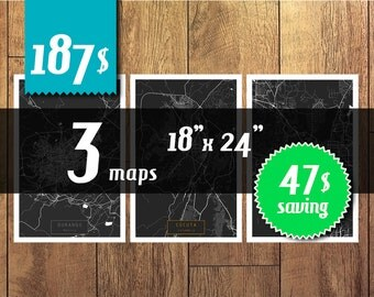 SALE! 3 maps 18''x24'' size - 47 dollars saving! Great deal -SAVE 47 dollars - get 3 maps with discount!