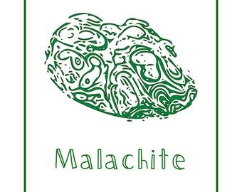 Malachite Art Print; Gems and Minerals