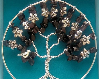 Black Onyx with silver tone Doves/Flowers Tree of Life