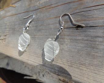 Bottle Top White Sea Glass Earrings