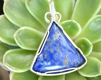Wire Wrapped Lapis Lazuli Pendant in Argentium Silver, Handmade Blue Stone Necklace