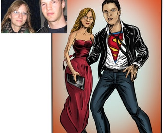 Digital Custom Characters Portrait from Photo. Personalized Caricatures. Custom Caricature Portraits. 2 persons.