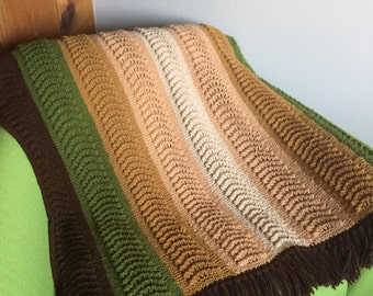 Vintage 70s Green Brown Beige Crocheted Throw Blanket with Fringe/Retro Crocheted Blanket